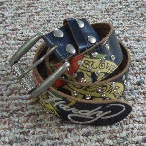 Ed Hardy navy rhinestone embroidered leather belt